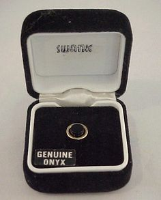 Vtg 1980s SWANK Genuine Onyx Round Gold Plated Tie Tack Pin in Original Box