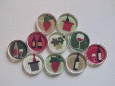 WineThemed Refrigerator Magnets Set of 10 Fridge by DLRjewelry, $16.00