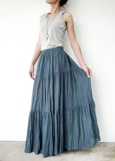 01919e2b631c NO.5 Bluish Gray Cotton Gauze, Hippie Gypsy Boho Tiered Long Peasant Skirt
