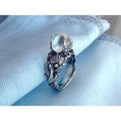 Seahorse Ring.Coral Ring.mermaid Ring.Mermaid silver Ring.Marine... (570 DKK) ❤ liked on Polyvore featuring jewelry, rings, coral jewellery, beach jewelry, silver rings, seahorse jewelry and beachy jewelry