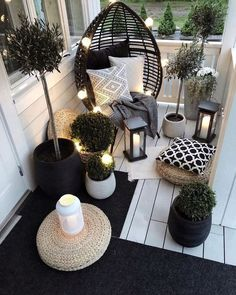 Beautiful Outdoor furniture for a small space. Get inspired to makeover your fro… Beautiful Outdoor furniture for a small space. Apartment Balcony Decorating, Apartment Balconies, Cool Apartments, Small Balcony Decor, Small Patio, Conservatory Decor Small, Narrow Balcony, Terrace Decor, Small Terrace