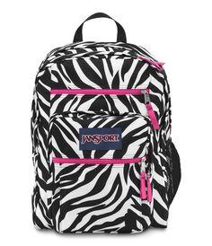 Jansport Big Student Backpack - Black White Fluorescent Pink Miss Zebra