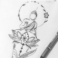 Find the tattoo artist and the perfect inspiration to get your tattoo. - Art created by Luciano Tatuador. Yoga Tattoos, Bild Tattoos, Body Art Tattoos, Tattoo Drawings, Sleeve Tattoos, Small Tattoos, Tatoos, Tattoo Ink, Buddha Tattoo Design