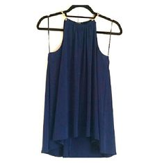 Michael Kors navy blue fashion halter top Navy blue with gold chain detail on the neck.  95% polyester 5% elastane Draped detailing and a chain-neck redefine the halter top as renewed and refined, matte-jersey construction style #Ms55Kl5S32 Michael Kors Tops Blouses