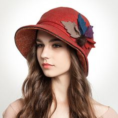 Winter leaves bucket hat for women leisure bowler wool hats