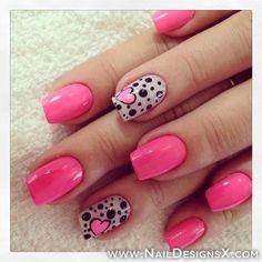 Valentines nails pink nails accent nail dots and heart nail art Pink Nail Art, Pink Nails, My Nails, Black Nails, Black Polish, Pink Polish, Pink Shellac, Neon Nails, Pastel Nails