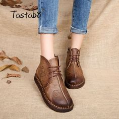 AliBanggood Luxury Brand Tastabo 2018 Handmade Ankle Boots Flat Boots Real  Genuine Leather Shoes Women Shoes 26fca5cc4e24