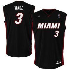 857d60b29c4fb8 Dwyane Wade Miami Heat adidas Replica Road Jersey - Black