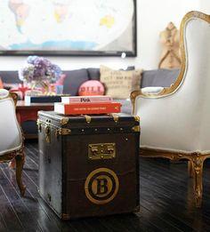 Vintage Louis Vuitton trunk as cocktail table