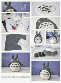 Diy totoro OMG that's all ! 👉🏽👉🏽A Totoro fan?Do you like these Totoro Crafts Ideas? for more Totoro Disegni? Cute Crafts, Felt Crafts, Simple Crafts, Baby Crafts, Softies, Plushies, Diy Plushie, Sewing Crafts, Sewing Projects