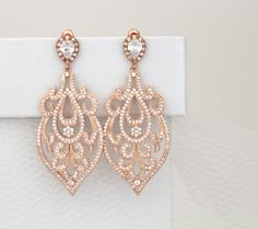 Awesome Amazing Rose Gold Bridal earrings Art Deco Wedding by on Etsy, Rose Gold Chandelier, Gold Chandelier Earrings, Gold Bridal Earrings, Gold Diamond Earrings, Swarovski Crystal Earrings, Wedding Earrings, Wedding Jewelry, Gold Jewelry, Jewellery Box