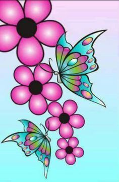 Diseños Fajas Butterfly Painting, Butterfly Art, Dot Painting, Fabric Painting, Flower Art, Butterflies, Rock Flowers, Paper Flowers, Flower Doodles