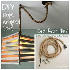 DIY Rope Pendant Cord - save money by creating your own rope wrapped cord - hardwired or plug in!