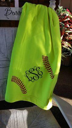 Sweatshirt Fleece Softball Blanket Throw by AndMore2004 on Etsy