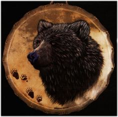 Hand painted Limited Edition BEAR SPIRIT drum