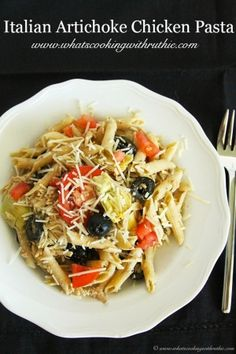 Italian Artichoke Chicken Pasta is a healthy and simple dinner for the whole family! by www.whatscookingwithruthie.com #recipes #chicken by gayle