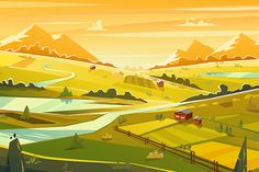 Rural landscape. Vector illustration by Krol on @creativemarket