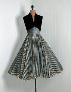 1950's Vintage Metallic-Gold Stripe Silk-Organza & Black-Velvet