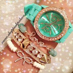 Set of three separate bracelets hand a mint/rose gold Geneva watch . Adjustable/elastic stretch.