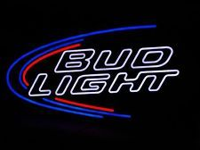 BUD LIGHT Beer LED OPTI NEO-NEON Pub Bar Sign, Bright Red, White, Blue, Swoosh