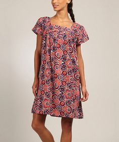 Love this Red & Blue Abstract Floral Square-Neck Shift Dress on #zulily! #zulilyfinds