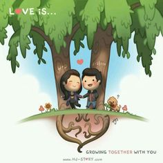 HJ-Story ~ Love is. Growing together with you Cute Love Stories, True Stories, Love Story, Hj Story, Groucho Marx, Anime Chibi, Chibi Cat, What Is Love, My Love