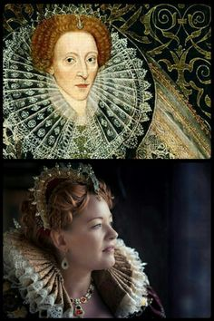Queen Elizabeth I of England and my reproduction. Made by Angela Mombers