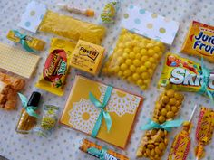 "A Box Full of Sunshine: Select items that are yellow or primarily yellow and place in a yellow box or one you've wrapped in yellow paper. Make a simple card with the ""sunshine in the corner of the page"" look, write the word ""sunshine"" diagonally across the card and write  your sentiment's  inside."