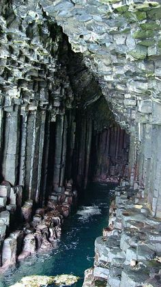 Fingal's Cave is a sea cave on the uninhabited island of Staffa, in the Inner Hebrides of Scotland. It is formed entirely from hexagonally-jointed basalt columns.