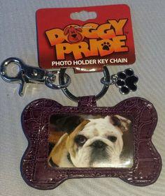 Purple Dog Bone Photo Holder Key Chain with Paw Print Charm