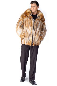 Men's Fur Jacket – Natural Red Fox Detachable Hood Mens Winter Fashion Jackets, Winter Outfits Men, Outfit Winter, Winter Clothes, Fox Fur Jacket, Fox Fur Coat, Fur Coats, Mens Fur, Jacket Style