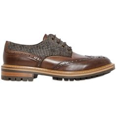 Dama Men Brogue Houndstooth & Leather Derby Shoes ($180) ❤ liked on Polyvore featuring men's fashion, men's shoes, men's oxfords, brown, mens leather brogues, mens oxford shoes, mens brogues, mens leather shoes and mens brogue shoes