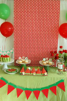 Ideas for a watermelon party.  Red polka dot wrapping paper as backdrop.