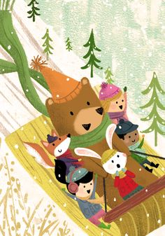 winter, Snow, sled, Friends, Woodland Creatures, and Animals -by Alison Kim.