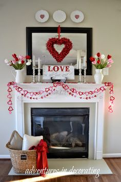 so cute! valentines mantel