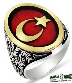 Ay Yıldız Türk Bayrağı 925 Ayar Gümüş Erkek Yüzük