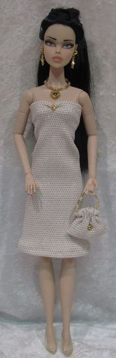 Dynamite Girls MONSIEUR Z Poppy Parker Doll Clothes #11 Dress, Purse, Jewelry #HandmadebyESCHdesigns