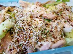 Homemade chicken salad with home grown alfalfa sprouts! Dressing is a mix of my homemade yogurt and some mustard  #fitness #protein #healthy #fitfam #gym #eatclean #cleaneating #foodporn #fit #gains #nutrition #health #lowcarb #fitlife #healthyeating #healthyfood #healthyliving #gainz #recovery #fuel #macros #gymlife #postworkoutmeal #homemade #foodie #food #foodgasm #foodporn #fitnesslifestyle