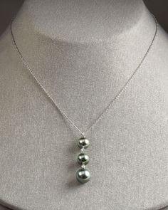 PEARL (black) MIKIMOTO Three-Pearl South Sea Pendant Necklace 18WG