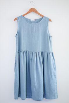 Swedish Blue Linen Dress