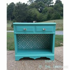 Three drawer dresser transformed into versatile piece.  Back was stenciled, and the inside drawer painted slate gray.  The color is Cooled Blue by Sherwin Williams. Could be hallway table, changing table, accent table, wine or coffee bar, bookcase... love! #pearlsinthebarn