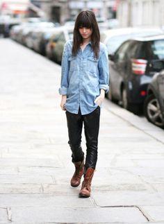 Denim shirt, black pants, brown lace-up boots