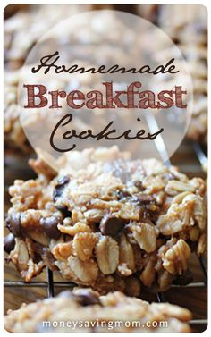 These Homemade Breakfast Cookies are amazing! They are delicious, healthy, and filling. What kid wouldn't want cookies for breakfast What's For Breakfast, Homemade Breakfast, Breakfast Dishes, Breakfast Recipes, Dessert Recipes, Mexican Breakfast, Breakfast Sandwiches, Breakfast Pizza, Healthy Breakfast Cookies
