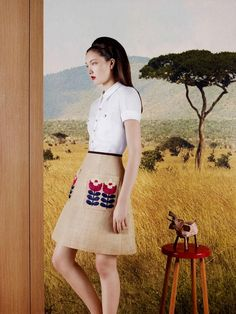 Campaign Images--Orla Kiely flared skirt with a blouse, great look--photographer shot by Ben Toms Fashion Line, Fashion Show, Fashion Trends, Orla Kiely, Women Brands, Flare Skirt, Fashion Advice, Spring Summer Fashion, Style Inspiration