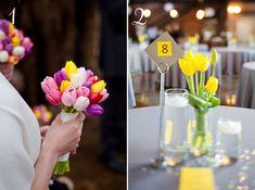 Colourful Tulip Bouquet & table centrepiece