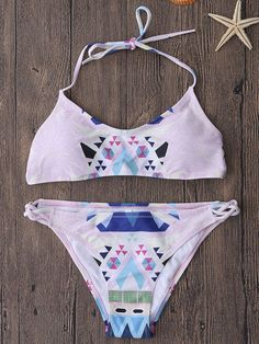 40399da3a0e348 Sexy Lace Up Geometric Printed Backless Bikinis Beach Bathing Suits Swimwear