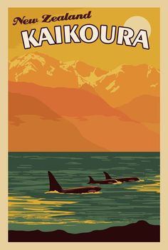 Kaikoura New Zealand - Vintage Travel Poster A vintage poster for Kaikoura, New Zealand posted by et Rock Posters, Art Deco Posters, Vintage Travel Posters, Vintage Postcards, New Zealand Travel, New Zealand Art, Beach Trip, Travel Pictures, Travel Inspiration