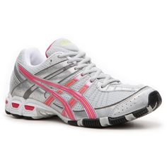 ASICS Women's Gel-Antares Cross Training Shoe - Grey/Silver/Pink/Lime... ($60) ❤ liked on Polyvore