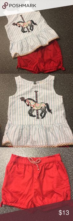 3T circus set from Target 2017 summer. No stains! Perfect condition toddler 3T circus horse outfit with matching red shorts. Bought at Target last summer. Top is pinstripe blue and white with gorgeous gold trim. ADORABLE outfit! Perfect for summer! Make an offer! OshKosh B'gosh Shirts & Tops
