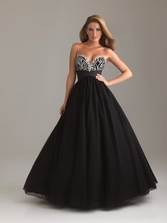 2012 Night Moves By Allure Prom Dresses - Black & White Beaded Taffeta & Tulle Strapless Sweetheart Empire Waist Prom Gown